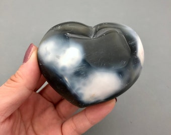 One Large Black and White Orca Agate Heart