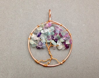 Rainbow Fluorite and Copper Tree Pendant Ready to Ship for Mental Clarity, Decision Making, Removing and Transmuting Energy