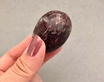 Red Tourmaline in Quartz Palm Stone