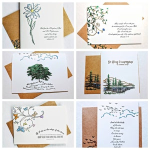 Bumblebee blank ivory note cards and brown kraft envelopes All occasion greeting cards Hand painted accents . 8