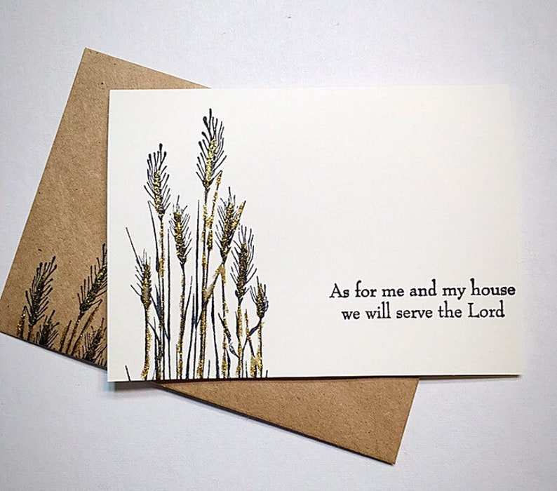 8 Scripture blank note cards and envelopes .Verse ~ As for me and my house we will serve the Lord Cards are ivory 4x5.5 Hand Painted