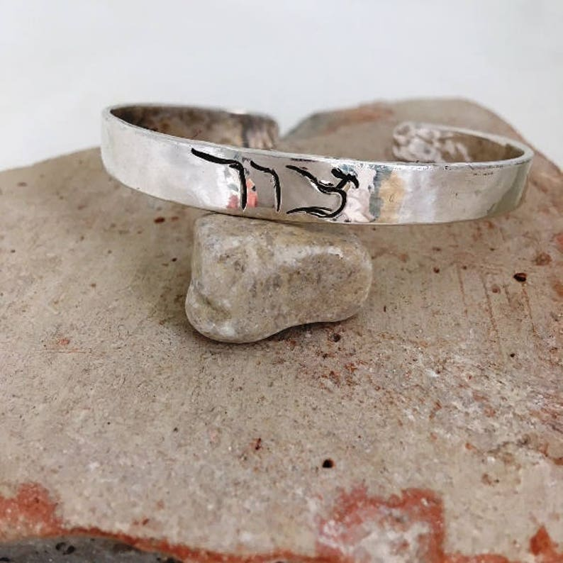 810b89883cb58 ROCK//narrow Sterling cuff bracelet//chased Hebrew line letters//hand  hammering texture//6 X 1/4 inches//Scriptural meaning//gift him or her