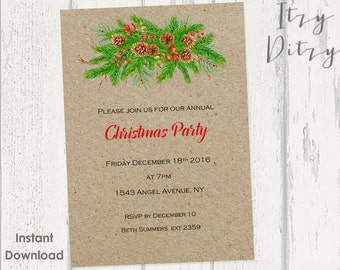 "Christmas invitations template - Printable ""Christmas Cheer"" Rustic invitation templates - YOU edit & print today - Word Instant Download"