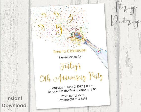 5. Geburtstag Einladungen bedruckbare Gold Champagner 5 fünf | Etsy