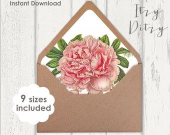 Envelope liners template Pink Peony floral Wedding envelope liners to print at home - 9 sizes Printable JPG Instant Download