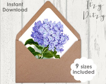 Envelope liner template Blue Hydrangea floral Wedding envelope liners to print at home - 9 sizes Printable JPG Instant Download