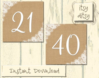 Rustic table numbers  Burlap & Lace wedding printables - Digital wedding table numbers 21-40 - Instant Download