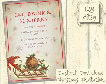 DIY Christmas invitations template - Vintage shabby chic printable easy to edit Xmas invites - Word doc or jpg templates  - Instant Download