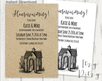 Housewarming invitation template - Download, edit & print yourself today - Printable invitations Word templates Instant Download 5x7""