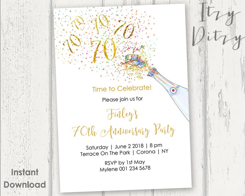 70th Birthday Invitations Template Printable Gold Champagne