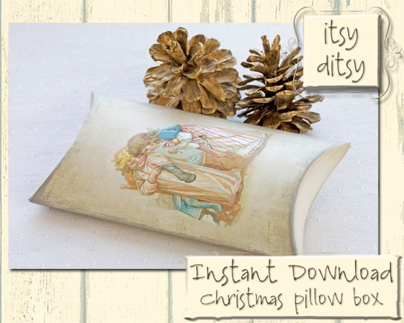 Diy Christmas Gift Box Template Pillow Box With Children Etsy