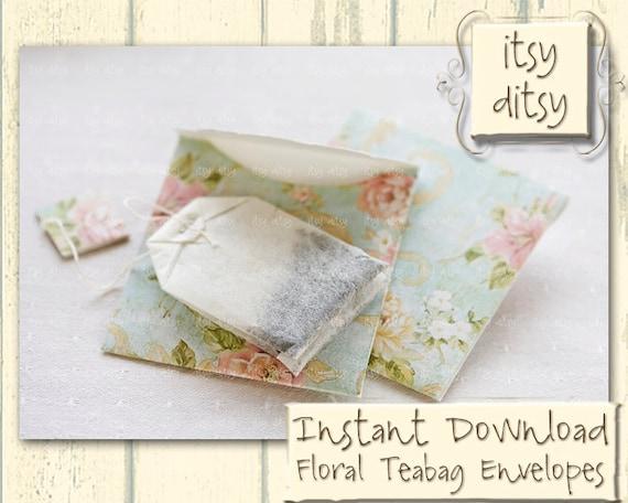 teabag envelope template in aqua floral design printable gift etsy