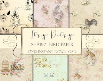 Digital Birds paper -Shabby printable patterns -antique birds & birdcages in pastels - cottage chic backgrounds - bird scrapbook  pages