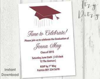 Graduation invitation template - Burgundy Mortarboard design - Download, edit & print yourself - Printable invitations Word Instant Download