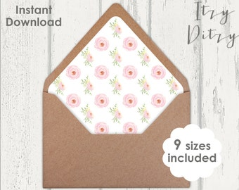 Printable Envelope liner template Pink Rose blush Wedding envelope liners to print at home - 9 sizes Printable JPG Instant Download