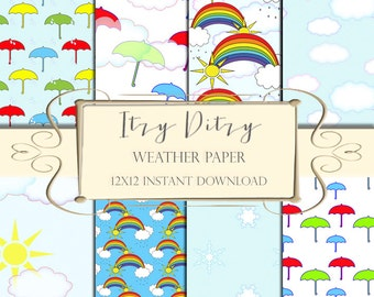 Weather digital paper - Weather Patterns for scrapbooking or printable crafts- rainbows, snowflake pattern, cloud paper & umbrellas.