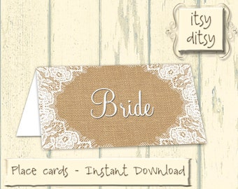Rustic placecards - Printable wedding Burlap & Lace name cards - Rustic place cards - digital burlap and lace name cards -Instant Download