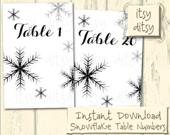 Snowflake table numbers - Printable Winter wedding table number cards 1-20 on 4x6 cards. digital JPG files to download