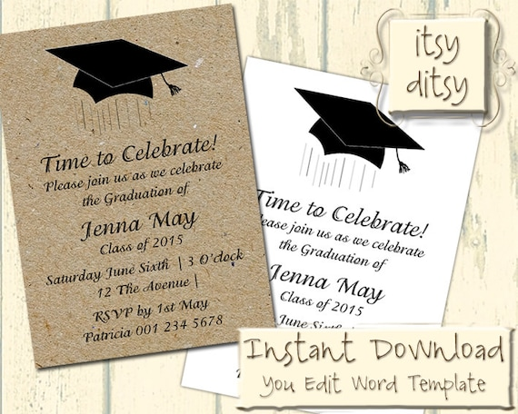 Graduation invitation template with a mortarboard design etsy image 0 filmwisefo