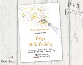 26th Birthday invitations template Printable Gold Champagne twenty sixth Word invitation templates - YOU EDIT & print today Instant Download