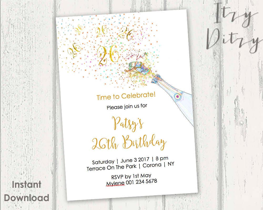 26th Birthday invitations template Printable Gold Champagne