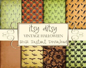 Halloween Digital paper, Halloween Pattern -Halloween Printable scrapbook paper-Grunge Halloween backgrounds-crows,pumpkins,bats,skeletons