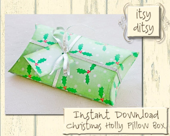 Christmas Gift Box Template Diy Pillow Box With Holly Design Etsy
