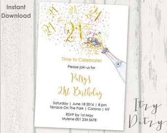 21st Birthday invitations template - Printable Gold Champagne twenty first Word invitation templates - edit & print today - Instant Download