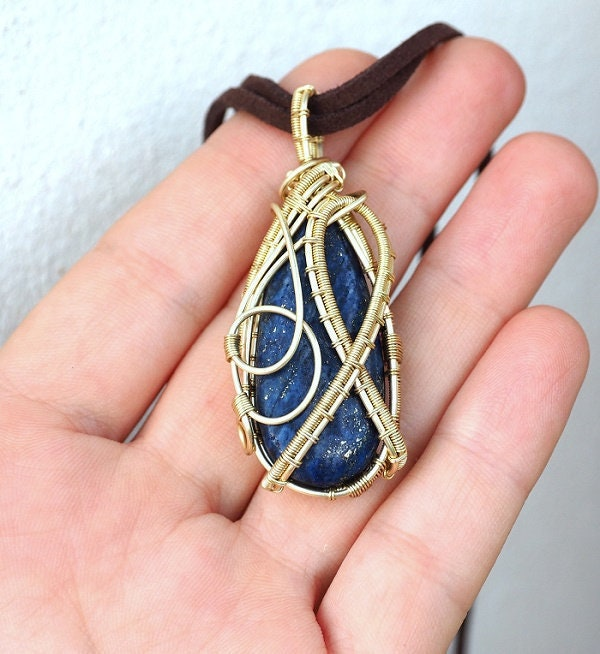 Lapis Lazuli Necklacewire Wrapped Lapis Necklace9th Wedding