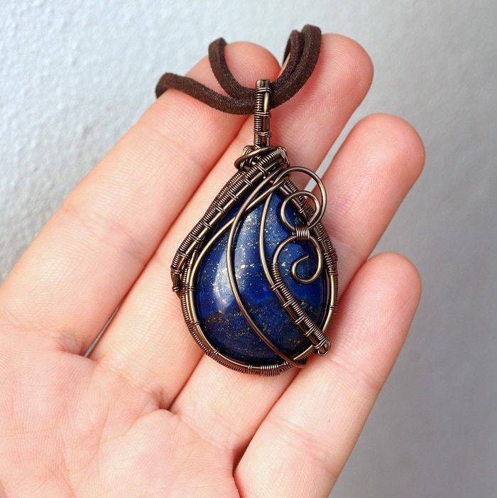 Lapis Lazuli Necklace9th Wedding Anniversary Giftlapis Wire