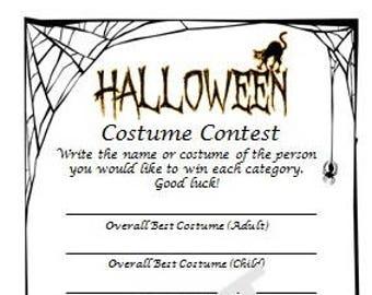 Halloween Costume Contest Ballot