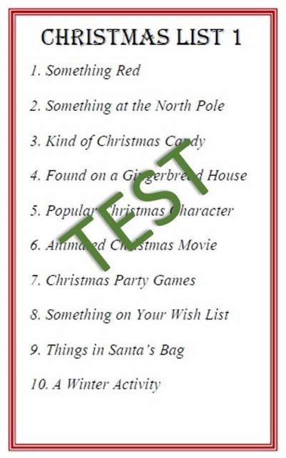 Christmas Scattergories Instant Download | Etsy