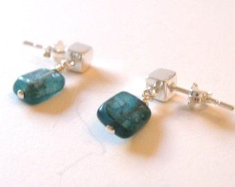 Stud Earrings, 925 Sterling Silver Kyanite Stud Earrings, Dangle Short Rectangular Gemstone Earring, Gifts For Her, Mother's Day Gift.