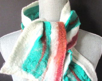 Felted scarves, felted wool and silk scarf, green and brown colorful scarf for women, gifts for her, double sided.