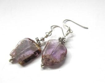 Irregular Amethyst Earrings, February Birthstone Earring For Women, 925 Sterling Silver Hooks, Gifts For Her.