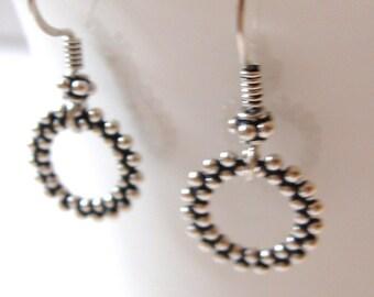 Sterling Silver Geometric Earrings, Bali Hooks, Short Earrings For Women, Everyday Earring, Gifts For Her.