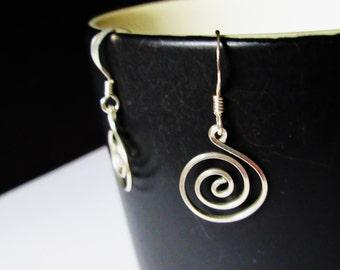 Sterling Silver, Handmade Sterling Silver Spiral Earring, Petite Short Dangle Earrings For Women, Gifts For Her, Everyday Earrings.
