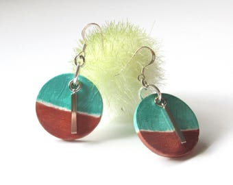 Painted Wood Earrings, Round Turquoise and Copper Wood Silver Earring, Light Weight Dangle Earring, Made In Canada, Gifts For Her.