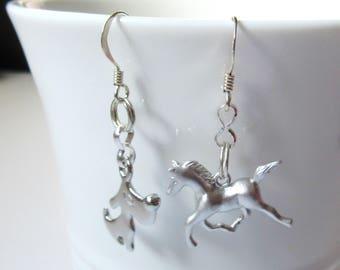 Pet Dog Earring, Asymmetric Horse And Dog Dangle Earrings, 925 Sterling Silver Fish Hooks, Gifts For Women, Animal Earrings For Her.
