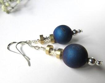 Round Blue Earrings, 925 Sterling Silver Hooks, Druzy Agate Dangle Earrings For Women, Gifts For Her, Something Blue For Wedding.