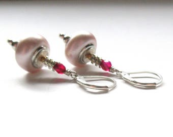 Pink Dangle Earrings, 925 Sterling Silver Lever Back, Pink Bead With Red Jade Earring, Gifts For Her, Daughter, Friend.