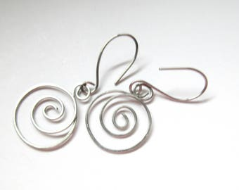 Spiral Stainless Steel Earrings, Long  Earrings For Women, Teens, Girlfriends, Gifts For Her, Hand Made in Canada, Christmas, Birthday Gift.