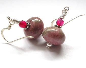 Pink Earrings, Round Rhodochrosite Dangle Earrings, 925 Sterling Silver Earrings For Women, Red Jade, Gifts For Her, Love And Balance Stone.