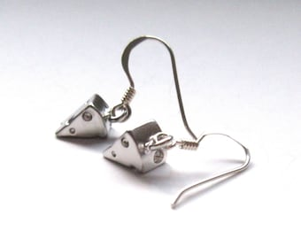 Short Cheese Earrings, For Cheese Lovers Moms, Petite Cheese Dangle Earrings, 925 Sterling Silver Hooks, Gifts For Her, Fun Food Earrings.