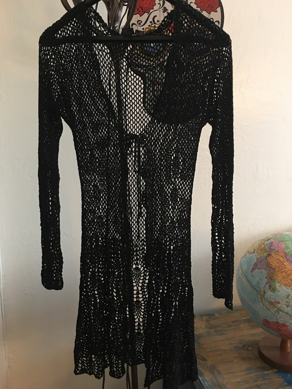 Black Long Crocheted Vintage RAMPAGE Sweater Size