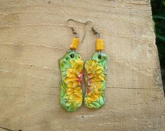 handmade clay sunflower earrings