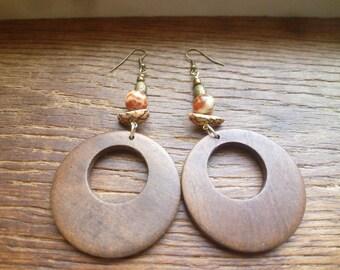 boho snakeskin jasper and wood circle earrings