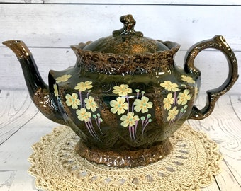 Antique Victorian Jackfield Teapot Made in England High Gloss Black Glaze Hand Painted Yellow Primrose Flowers & Copper Tone Gilding  2 pint
