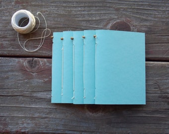 Aqua Mini Travel Hand-sewn Notebook. Blank pages. 20 pages.
