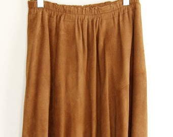 655b7b6924 Vintage Suede Leather Swing Skirt // Boho // Hippie Dippy // Size Large //  Skirt by French Creek Sheep and Wool Company // Maxi Skirt